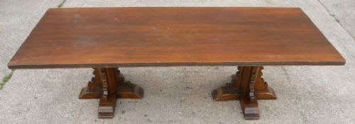 Antique Tudor Style Large Oak & Walnut Refectory Dining Table